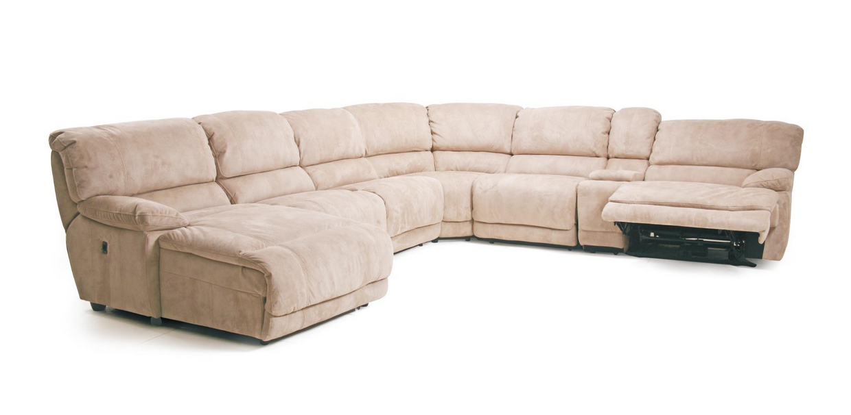 Delicieux Cheers Furniture: Pillow Arm Reclining Sectional Sofa With Chaise And  Console.