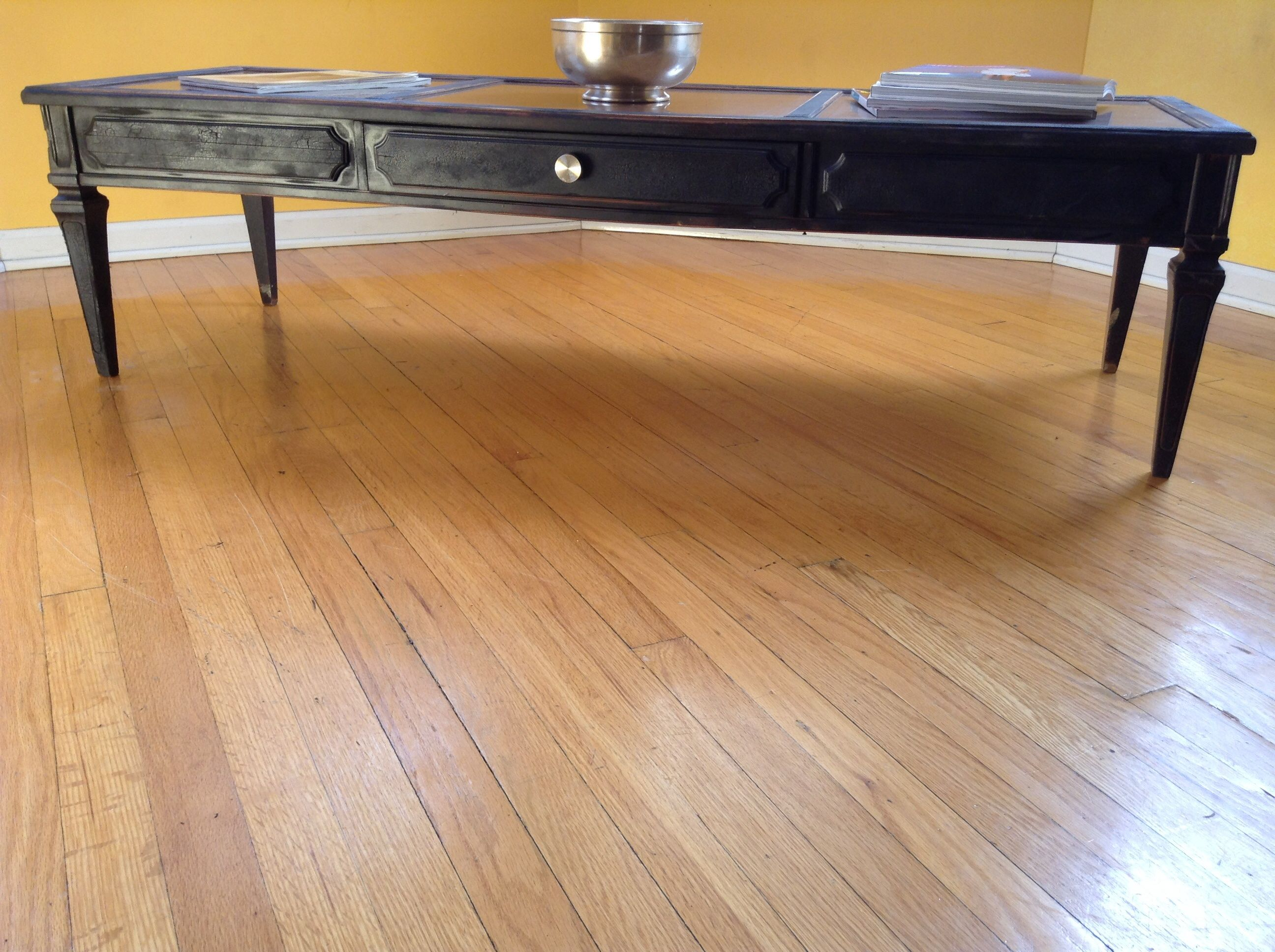 Torched Maple Coffee Table with new chrome