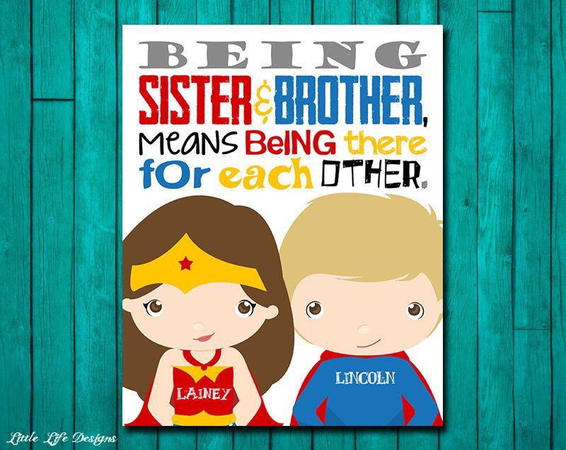 Brother & Sister Superhero Wall Art. Brother Sister Wall Art ...