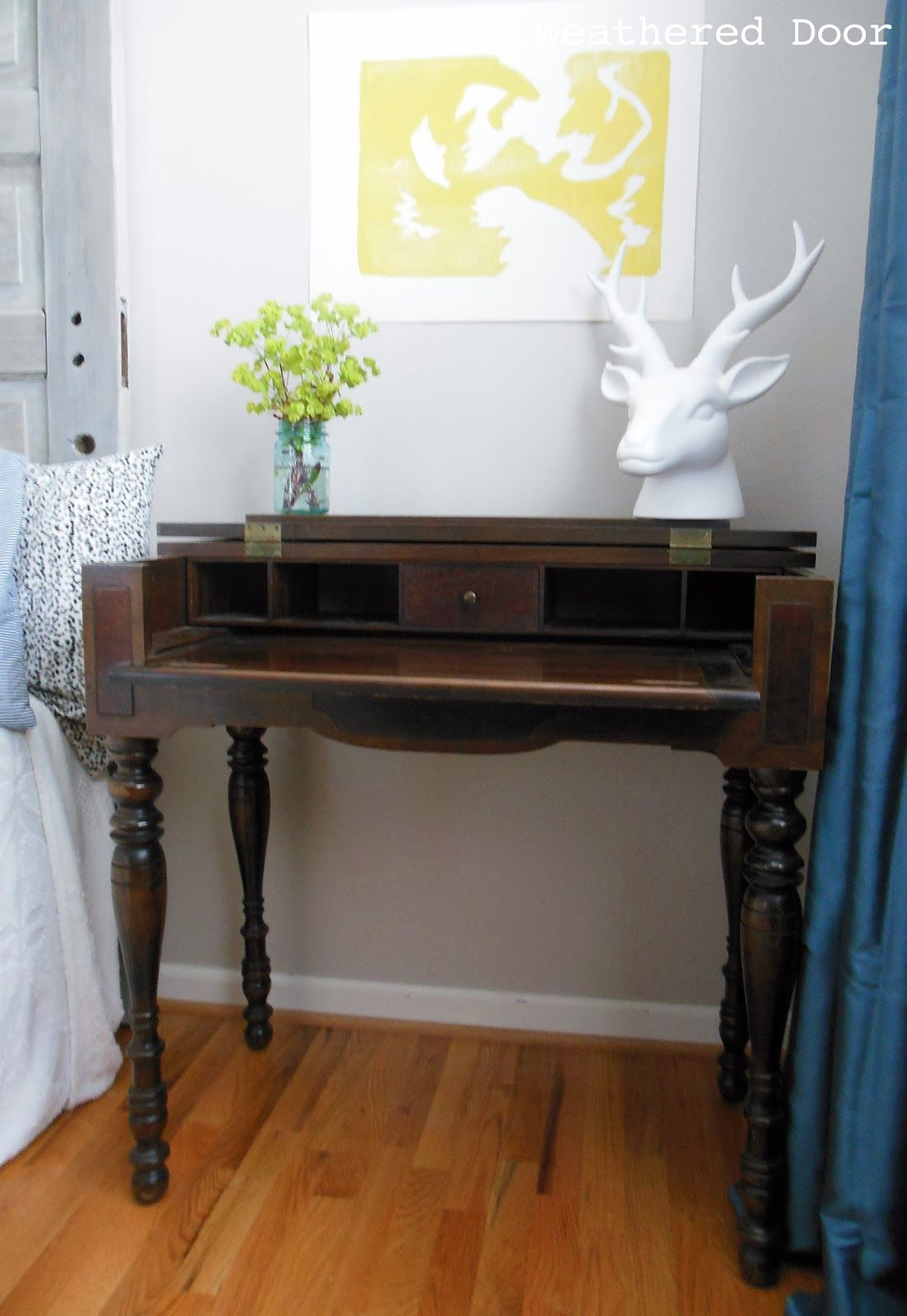 A Dark Wood Spinet Desk And Stepping Away From The Paint Brush