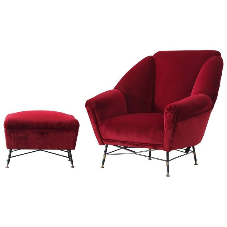 Italian Red Velvet Lounge Chair with Accompanying Ottoman ...