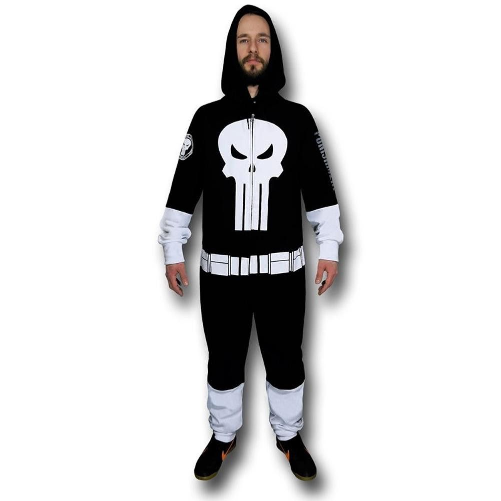 Adult Men/'s Marvel Comics The Punisher Pajama Hooded Zip Costume Jumpsuit