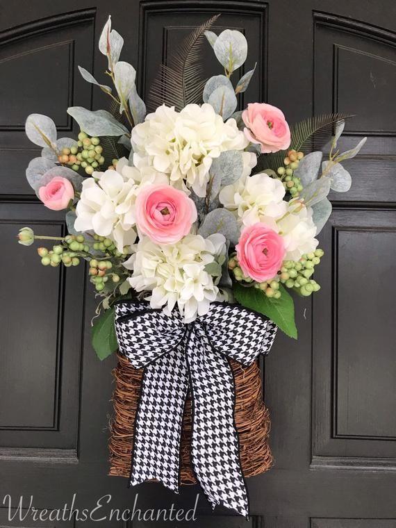 Photo of Spring Door Basket Spring Wreath Hydrangea Rose Flat Basket Front Door Mother's Day Gift White Pink F.