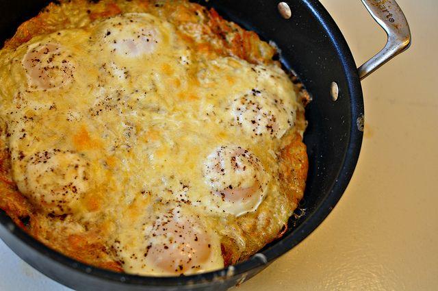 Baked Eggs with Crispy HashbrownCrust