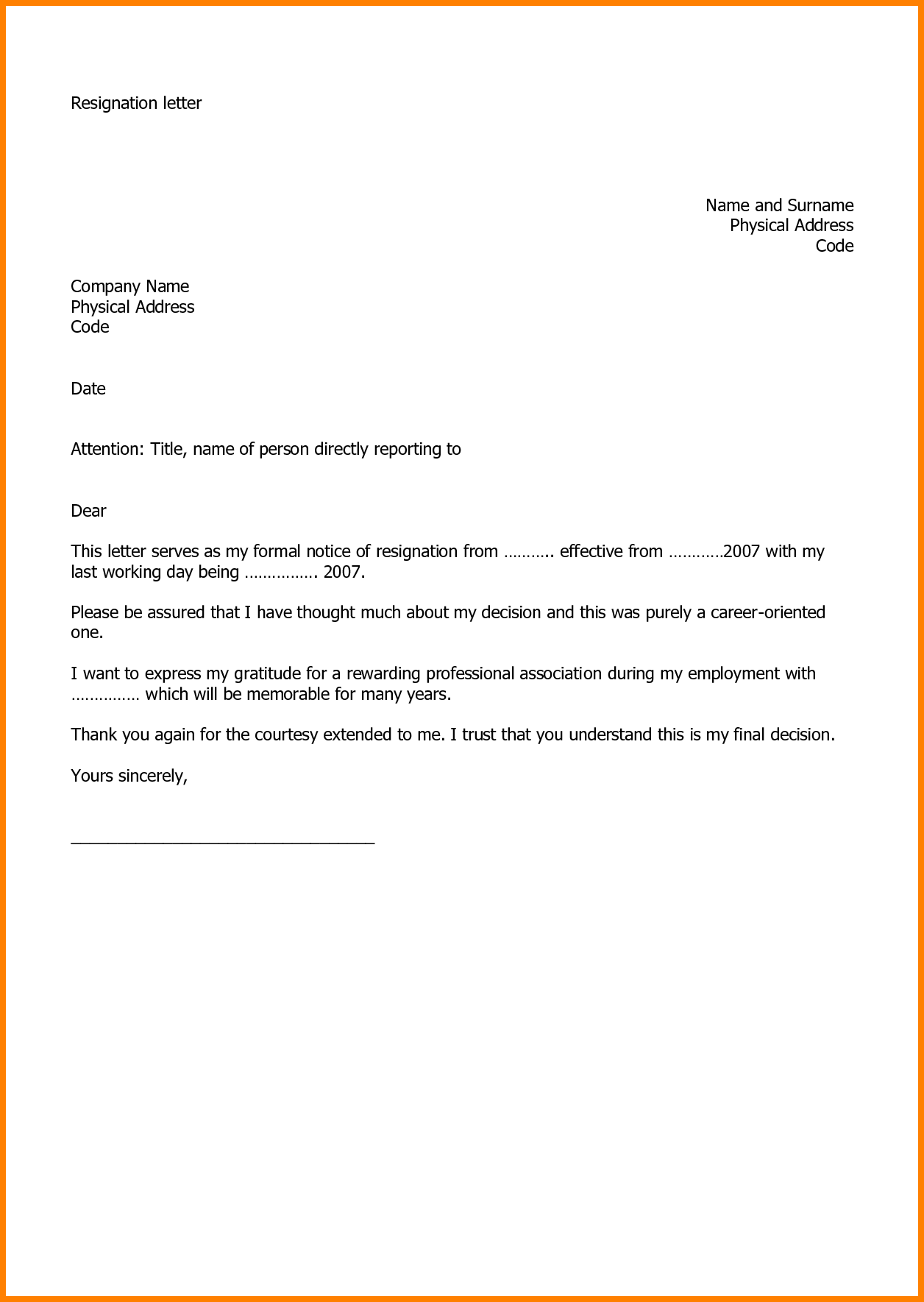 Charming Letter Format For Job Resignation Resignation Letter Example.