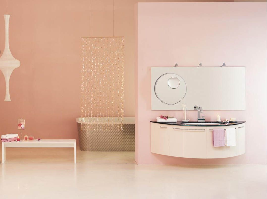 Bathroom, Interior Design Bathroom Photos Inspirations: Girl Relaxing  Bathroom Soft Pink Painted Wall All Curved Decor And Aromatic Essence Photo Gallery