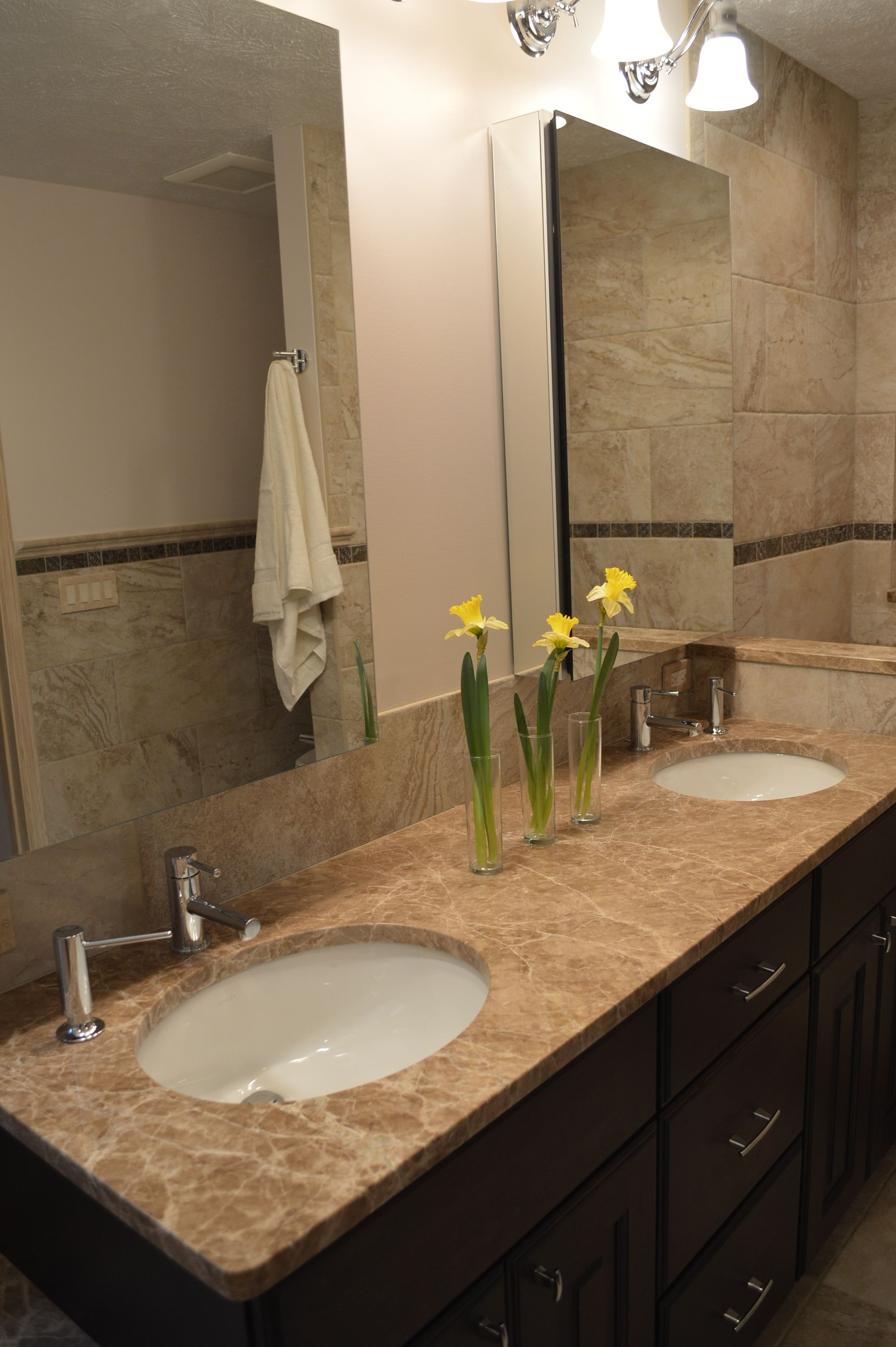 Small #bath gets updated with double vanity sinks, #Kohler mirrored ...
