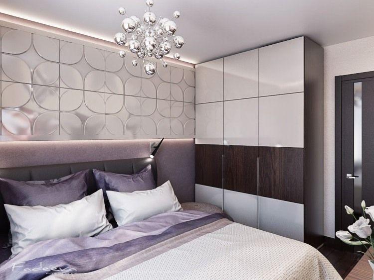 kleines Schlafzimmer in Lila, Weiß und Dunklebraun   bett ...