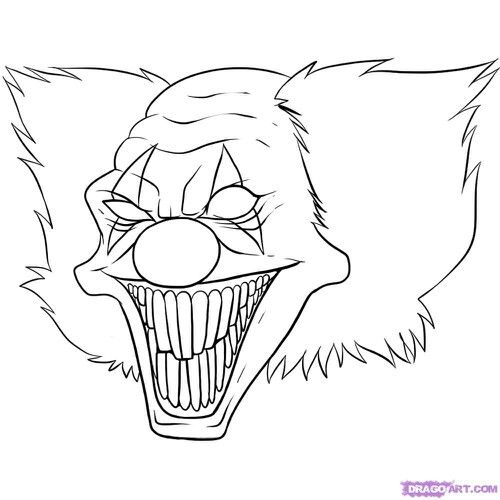 Pin By Magen Niemtschk On Coloring Pages Scary Clown Drawing