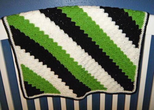 Handmade-Crochet-Corner-C2C-Baby-Boy-Girl-Afghan-Blanket-Green-Black ...