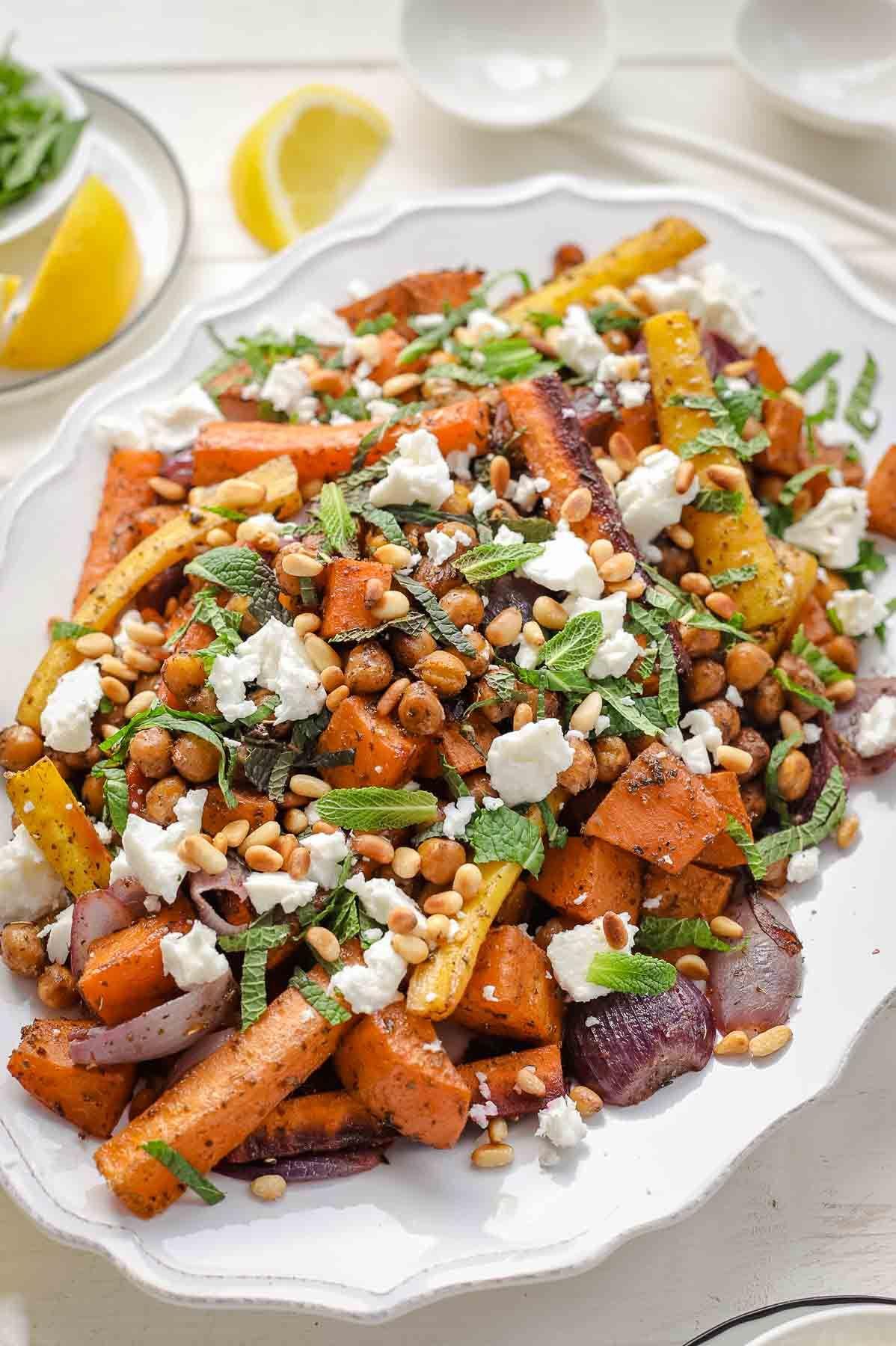 Gebackenes Gemüse und Kichererbsen mit Zatar #gesundesessen