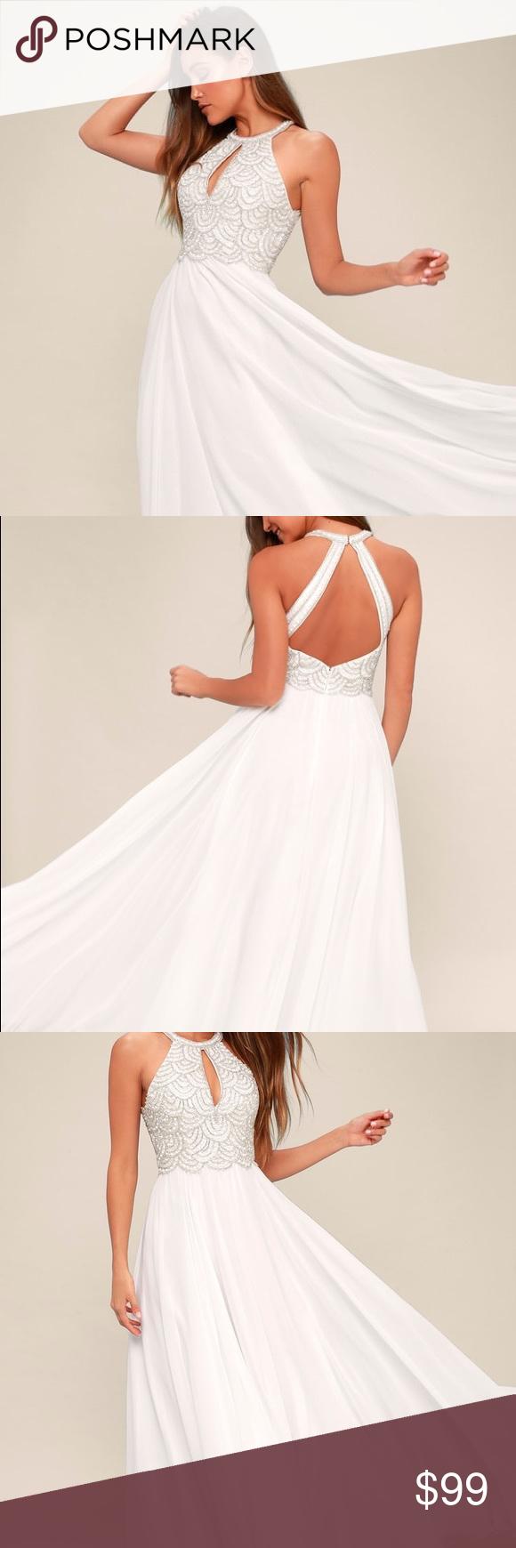 LULU'S PRINCIPESSA WHITE BEADED MAXI DRESS WEDDING Maxi