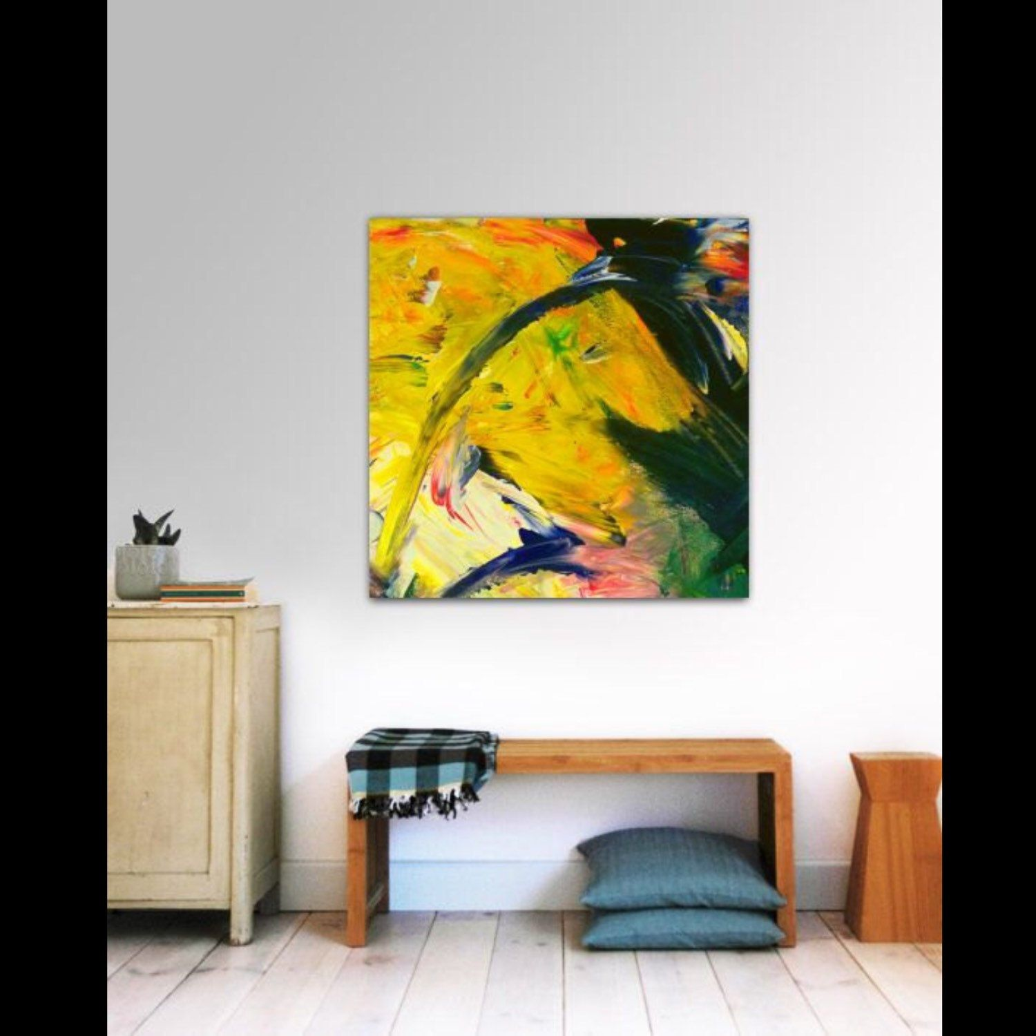 Abstract Acrylic Painting on Canvas SQUARE Colorful Abstract ,Yellow ...