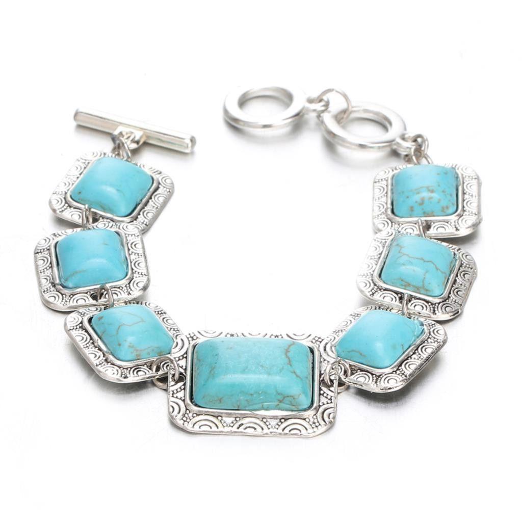 Turquoise Stone Bracelet set in Antique Silver metal.