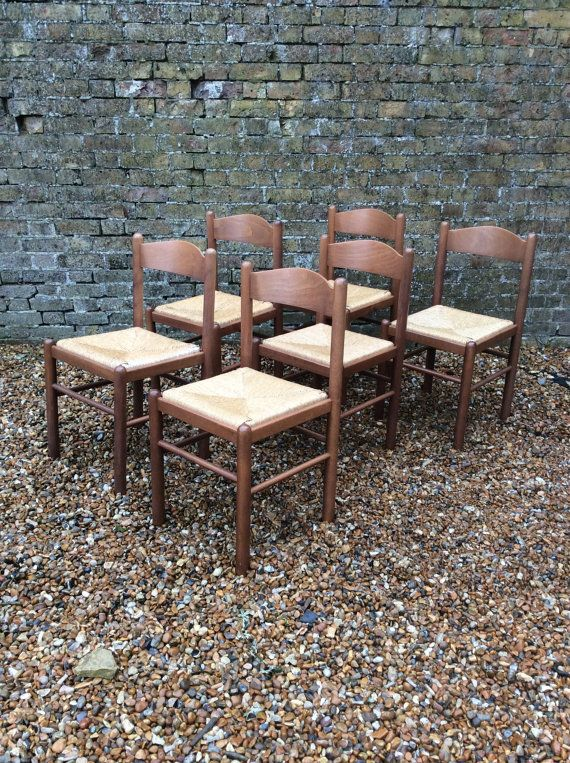 Six 1960s Rush Seat Italian Dining Chairs Mid By Kellymariavintage