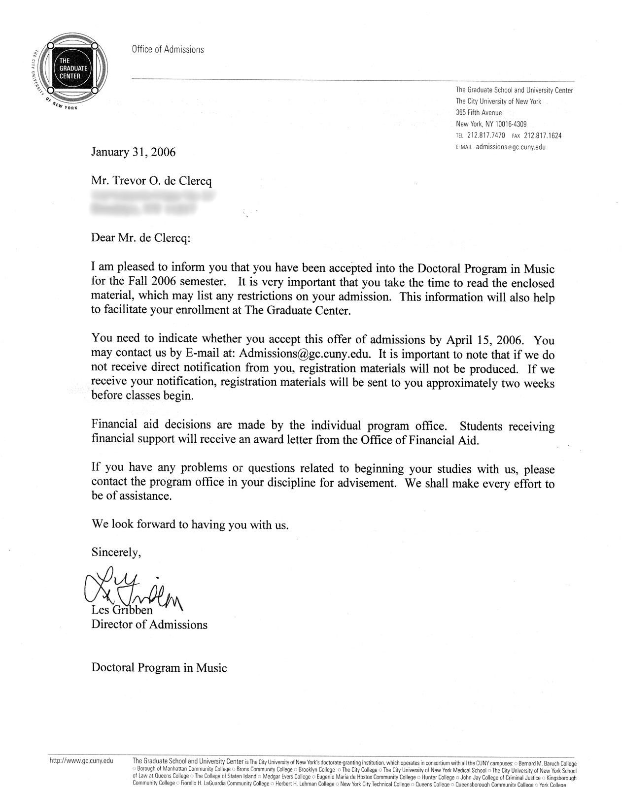 University Acceptance Letter Sample Inspirational Phd Application