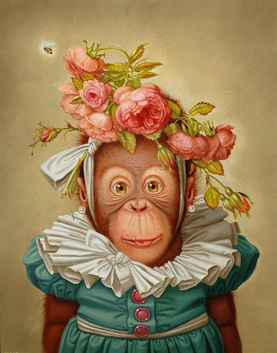 "Donald Roller Wilson  Bite-Lite Monkey Says: ""uh, hmmm, uhm, think that might be my cousin Myrtle, she always loved ridiculous head pieces."""