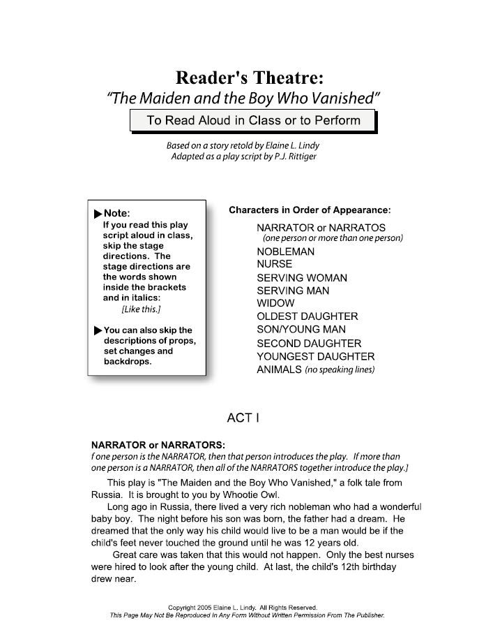 COMPLETE READER'S THEATRE PLAY SCRIPT -