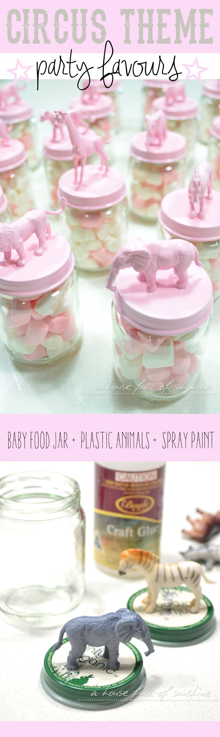 Pink circus-themed party favours - such a cute idea to DIY for a child's birthday! Click through for easy instructions!