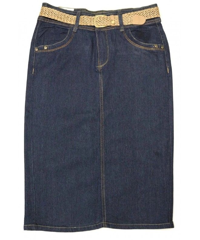 2074a93ce7a Women s Plus Size Stretch Below The Knee Length Belted Denim Skirt 26