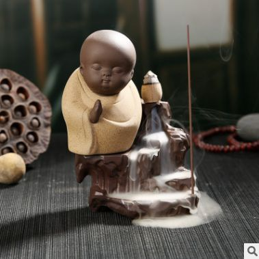Creative Home Decor The Little Monk Censer Yixing Creative Backflow Stick Incense Burner Home Furnishing Office Decoration