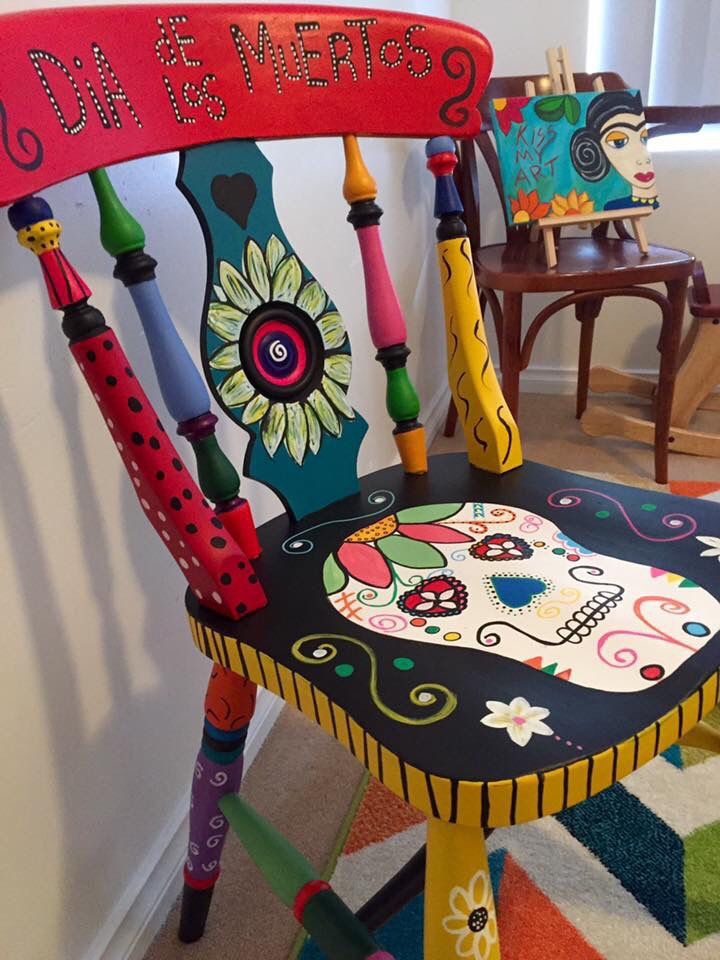 Bon Hand Painted Sugar Skull Chair More ...