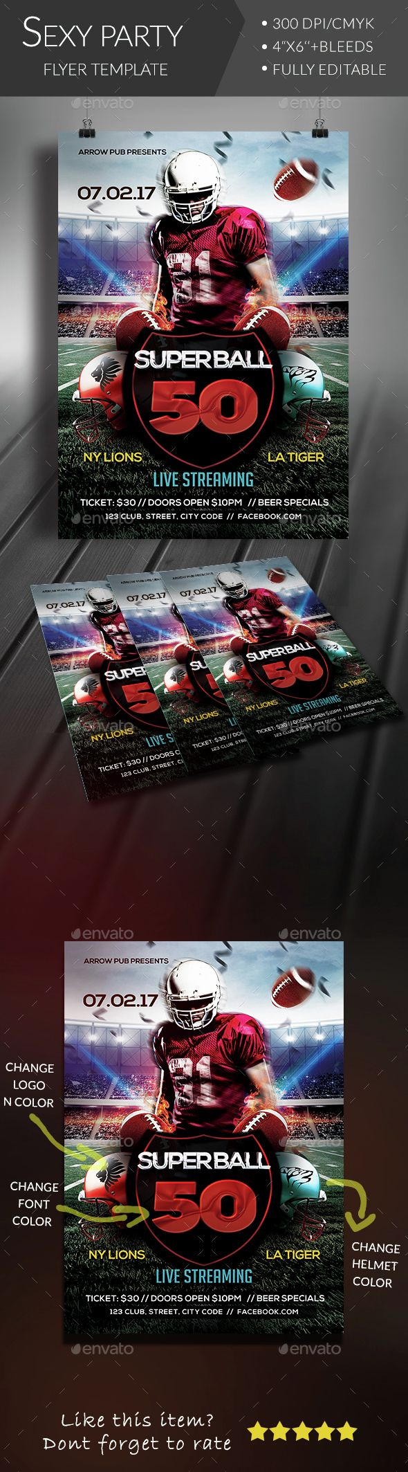 Superball Football Flyer  Flyer Template Event Flyers And Event