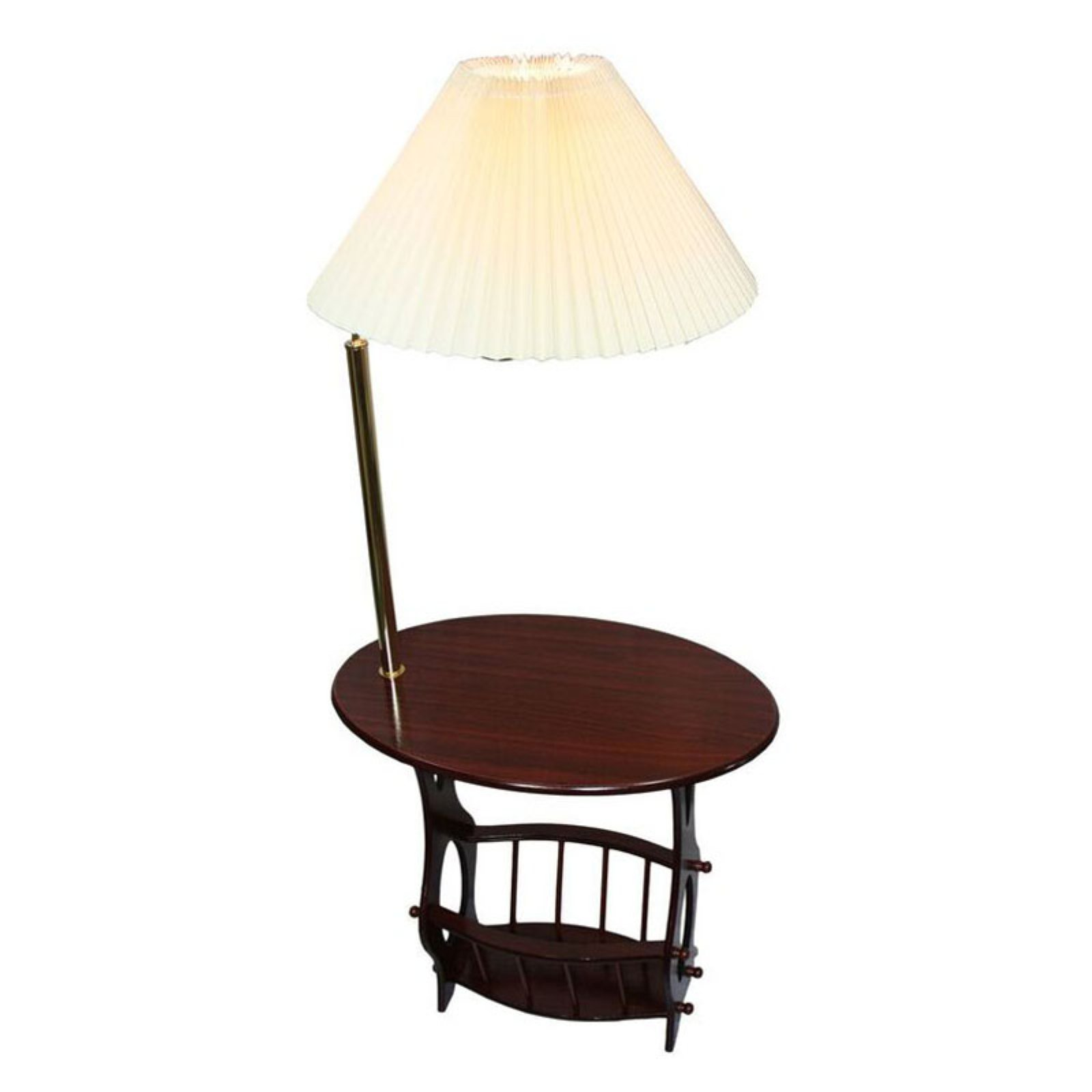 Ore International Brass Lamp End Table With Magazine Rack Brass