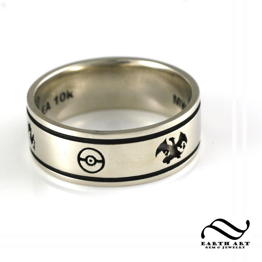 Custom Pokemon Wedding Band Geeky Engagement Rings Titanium Wedding Rings Heart Wedding Rings