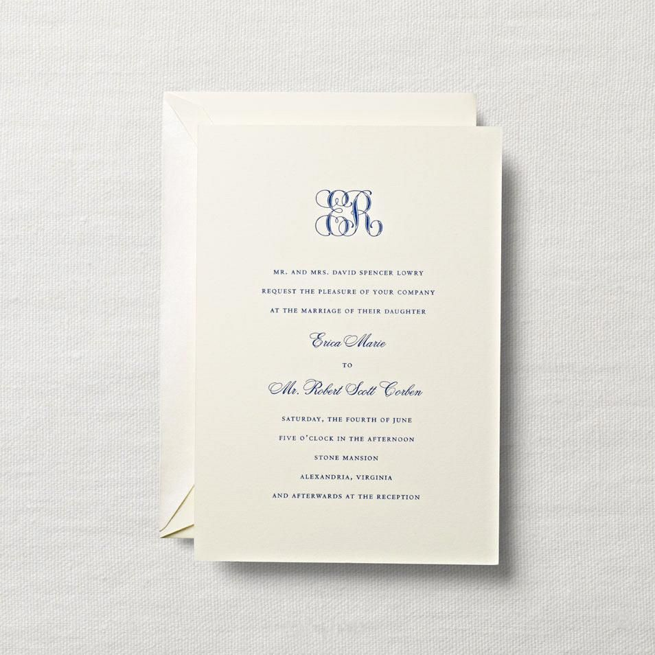 Romantic Floral Wedding Invitation Classic Monogram Wedding