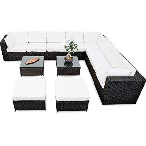 erweiterbares 35tlg. Lounge Polyrattan XXXL - schwarz - Garnitur ...