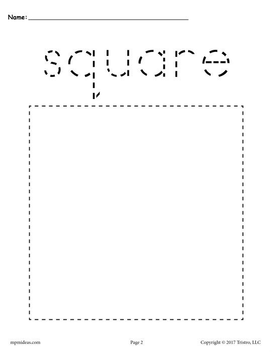 Free Printable Square Tracing Worksheet Learn Arabic For Kids