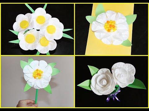 Kwiaty Z Platkow Kosmetycznych Flowers Crafts For Kids Kwiaty Na Dzien Mamy Spring Crafts For Kids Spring Kids Crafts