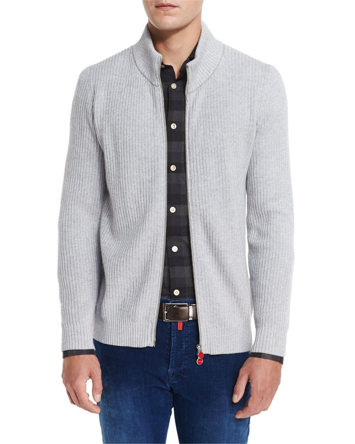 Ribbed Cashmere Full-Zip Cardigan, Light Gray | Products ...