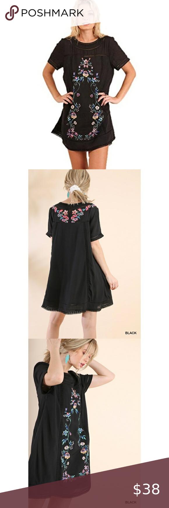 UMGEE Black Floral Embroidered Detail Boho Dress