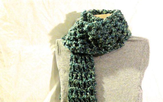 Long, blue-green, double crochet scarf