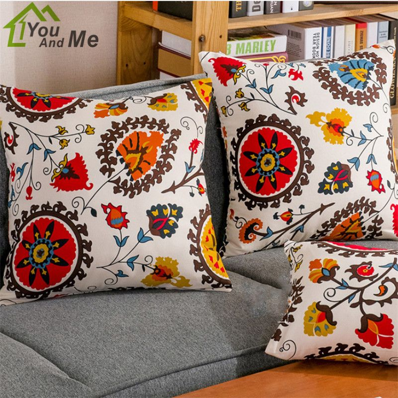 National Style Sunflower Pattern Throw Pillowcase For Home Hotel Sofa Chair  Cushion Cover Decor #Affiliate
