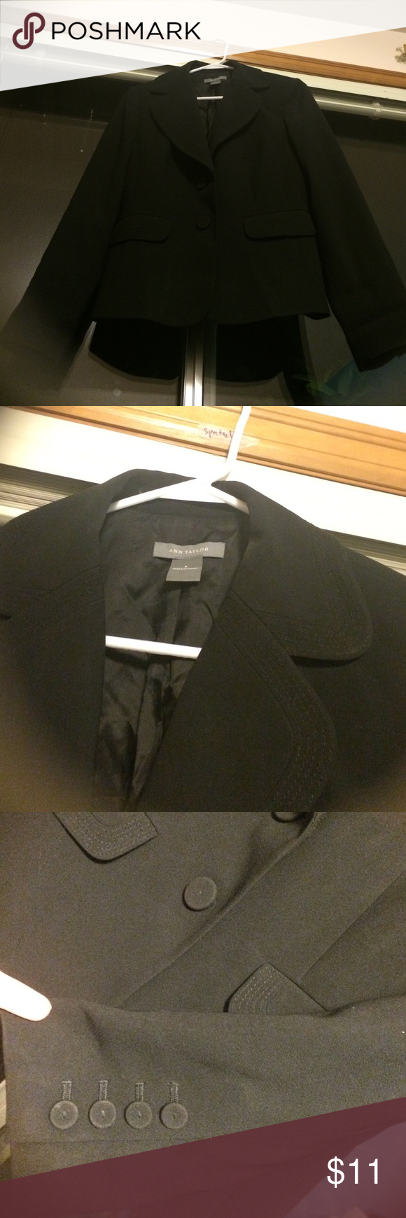 Blazer ☦ Sleek, black blazer with stitching and button embellishments. Lined. Ann Taylor Jackets & Coats Blazers