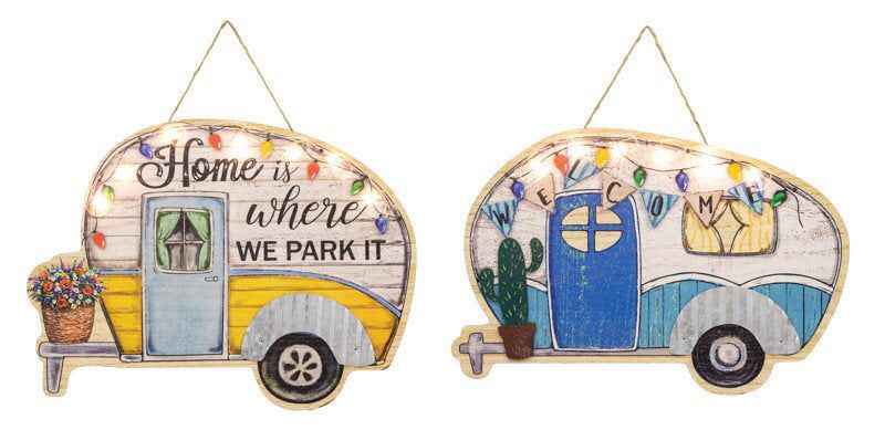 Cozy Home Camper Hanger with lights, Wreath Decor Signs, Camper sign, (Buyer must choose) Home is where we park it or Welcome with cactus