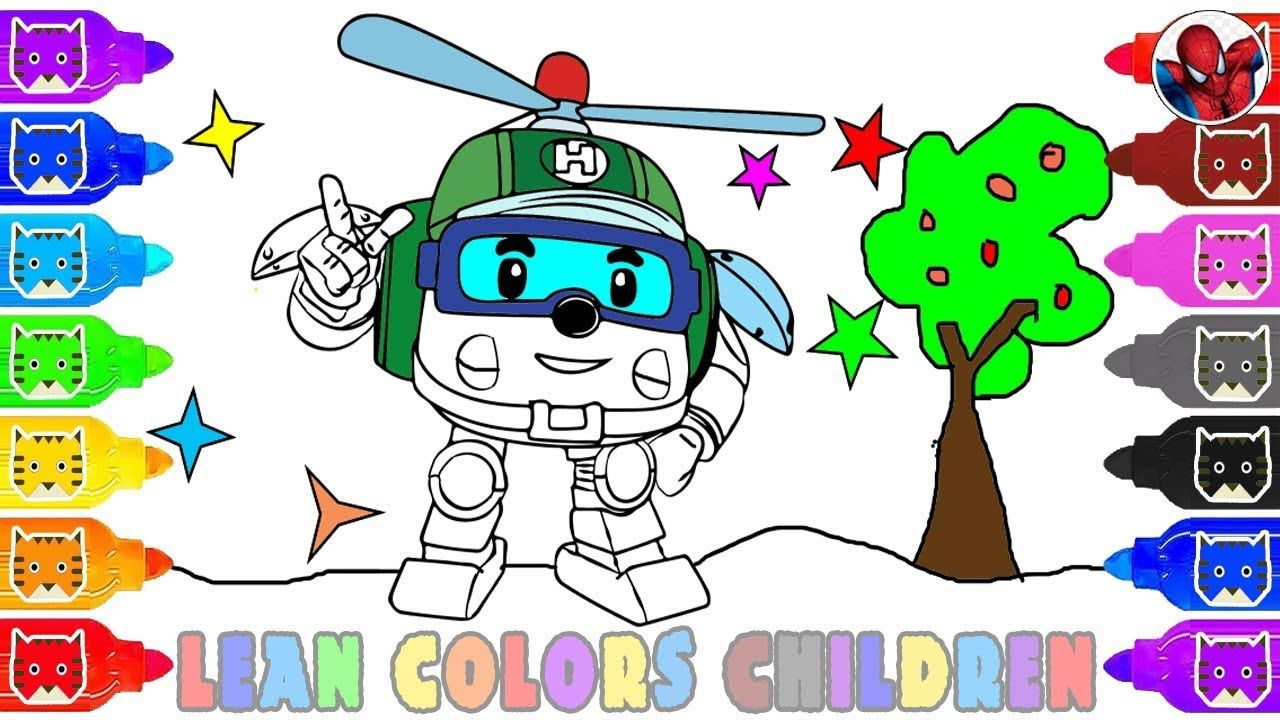 How to draw helly from robocar poli for kids learn coloring page with