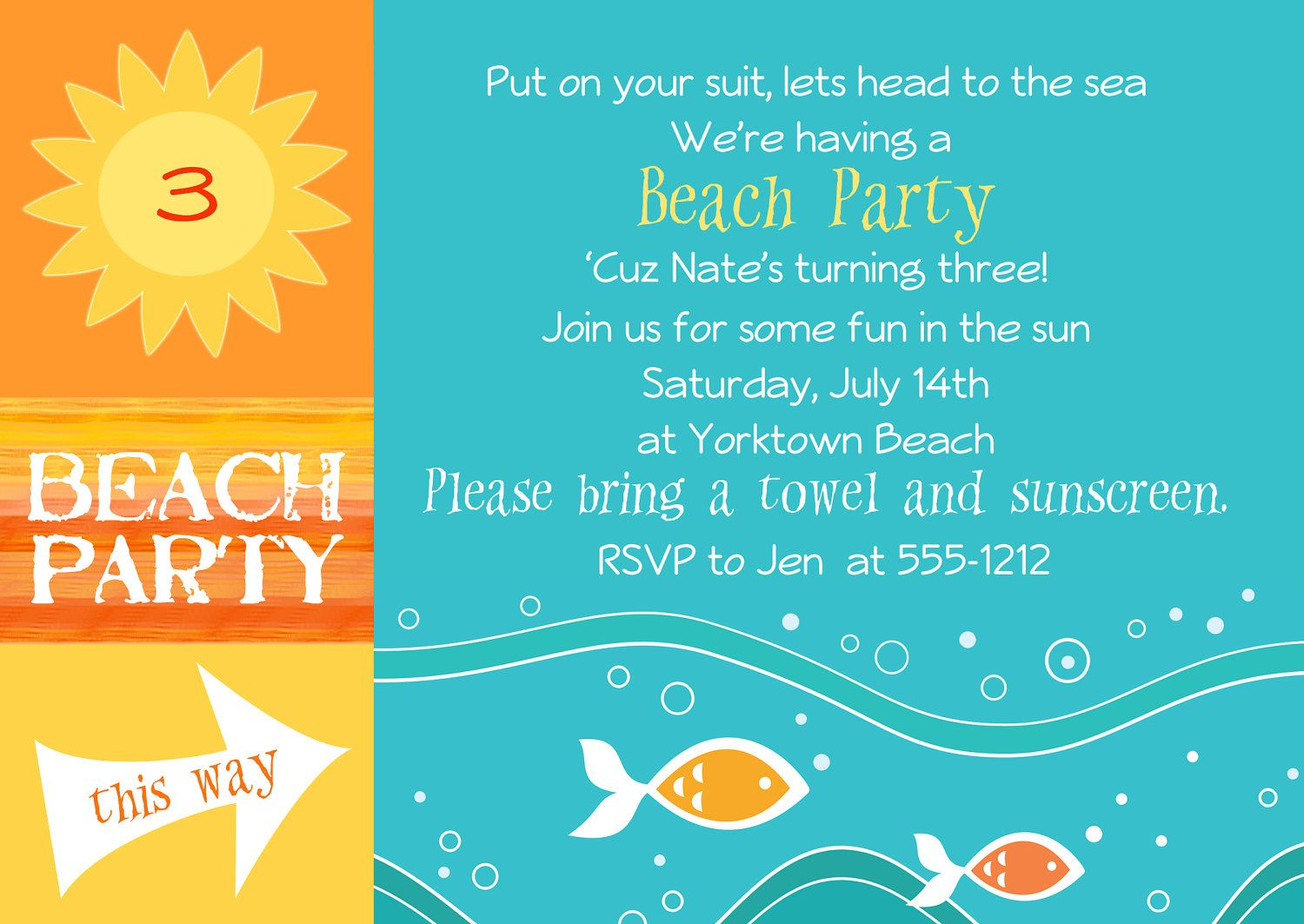 Beach Invitations Free | reunion2 | Pinterest | Beach party ...