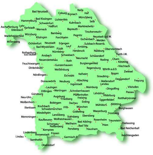 Karte Bayern.Bayern Landkarte Bundesland Karte Landkarte Bayern Geburt