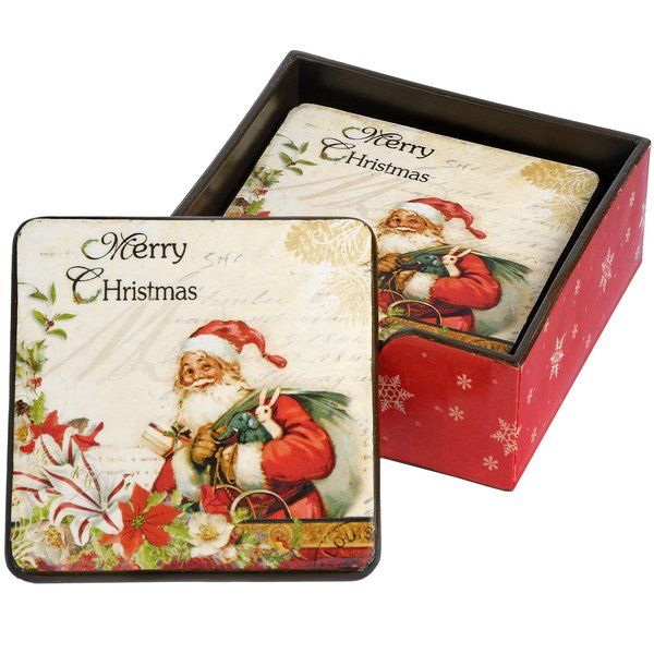 vintage christmas set of 6 coasters 14063 christmas decorations wholesale gifts - Wholesale Vintage Christmas Decorations