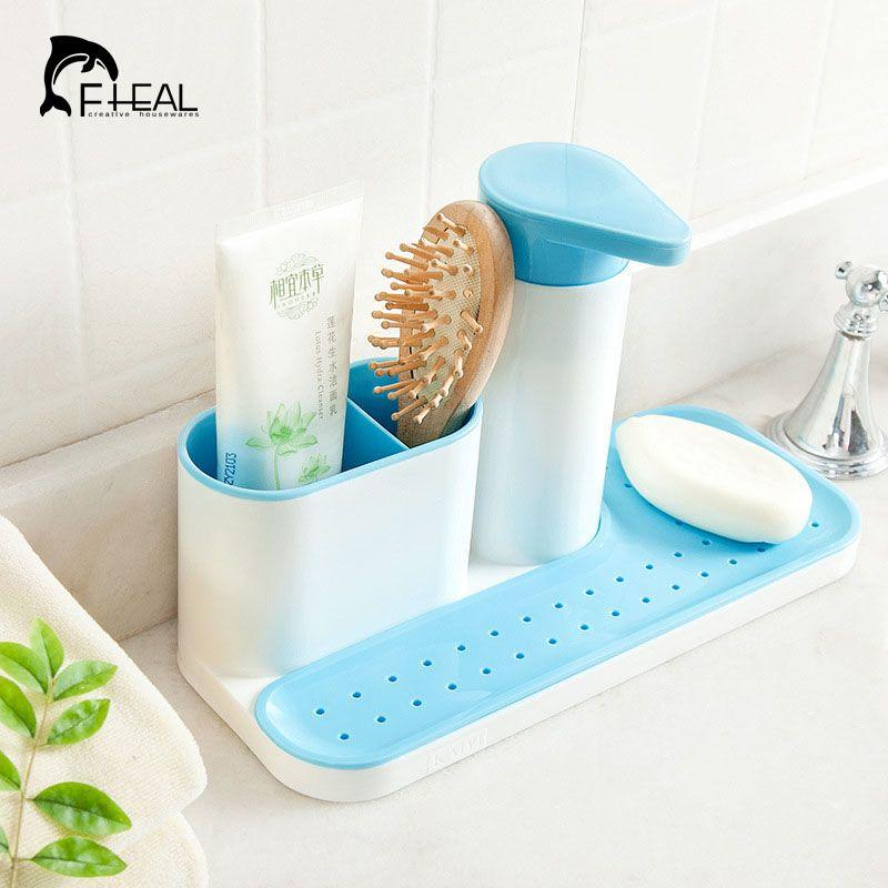 FHEALKitchenSpongeHolderDetergentBoxSinkSelfDrainingRack - Bathroom detergent