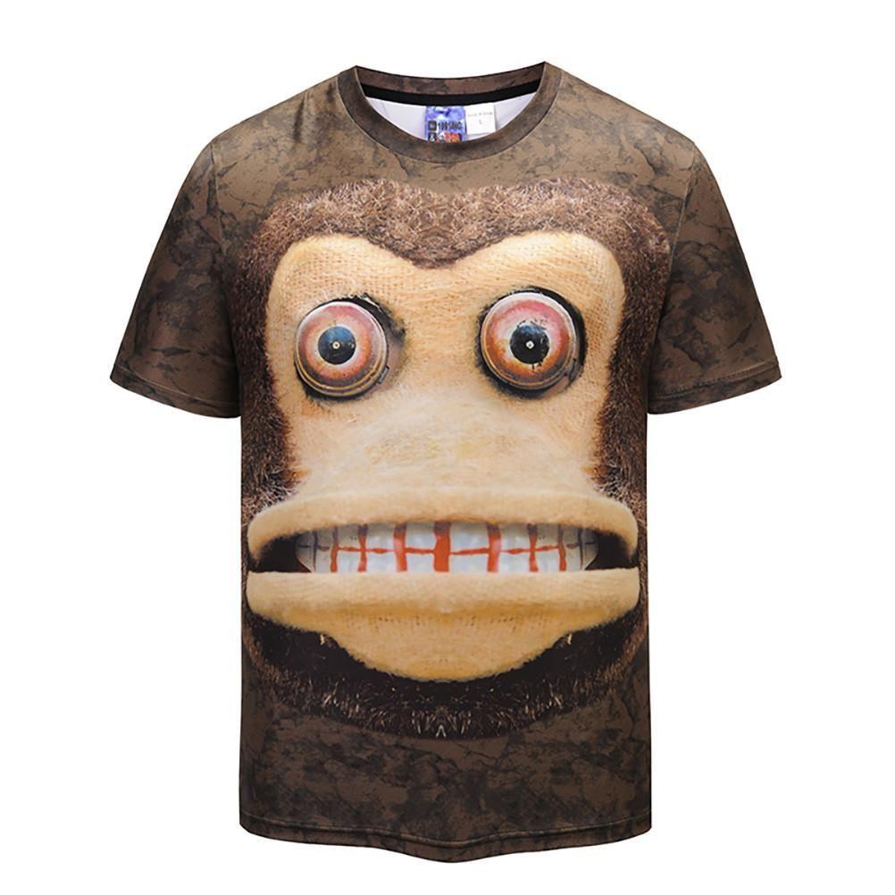 Men T-shirt Cartoon 3D Graphic Full Print Casual Short Sleeves Unisex Tees Tops