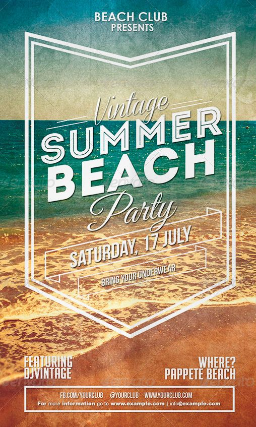 Vintage Summer Beach Party Flyer  Advertising