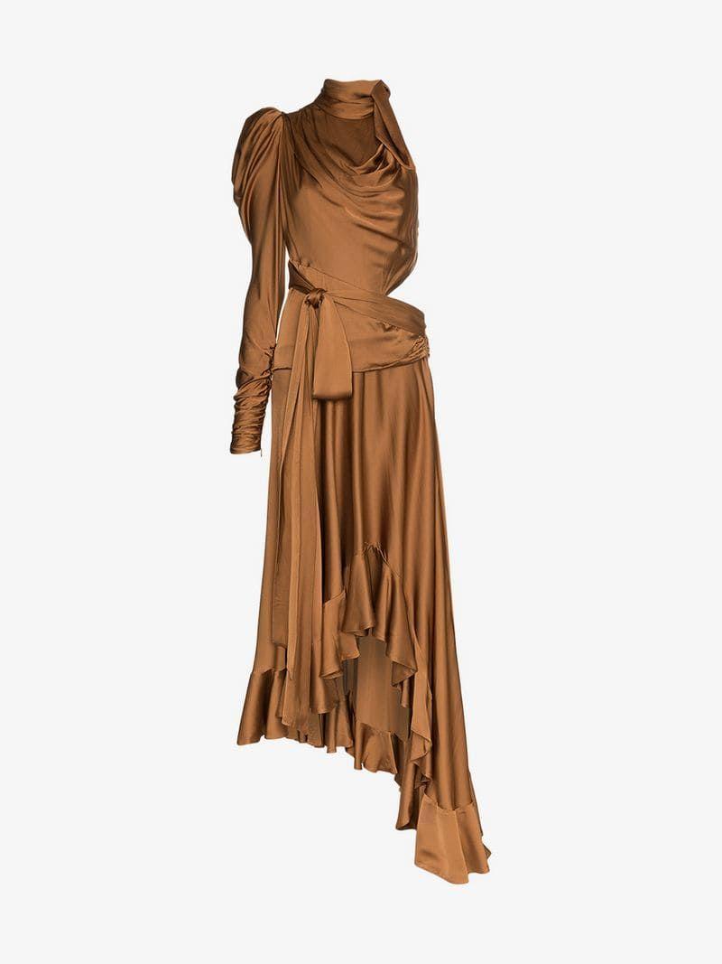 Draped Satin Cutout Dress | Cutout dress, Dresses, Fashion
