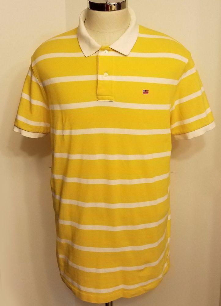 Polo Jeans Ralph Lauren American Flag Polo Shirt Yellow White Striped Size  XL #PoloJeansCompanyRalphLauren #