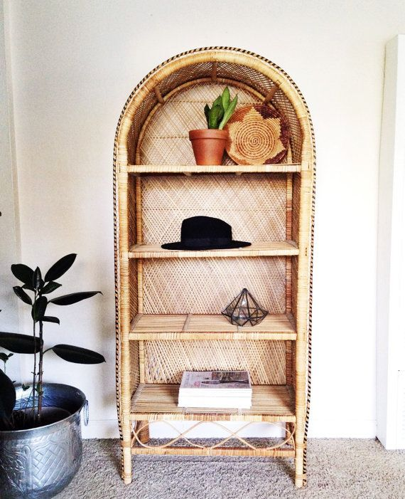 Wicker Bookshelf Vintage Etagere Boho Decor Bohemian