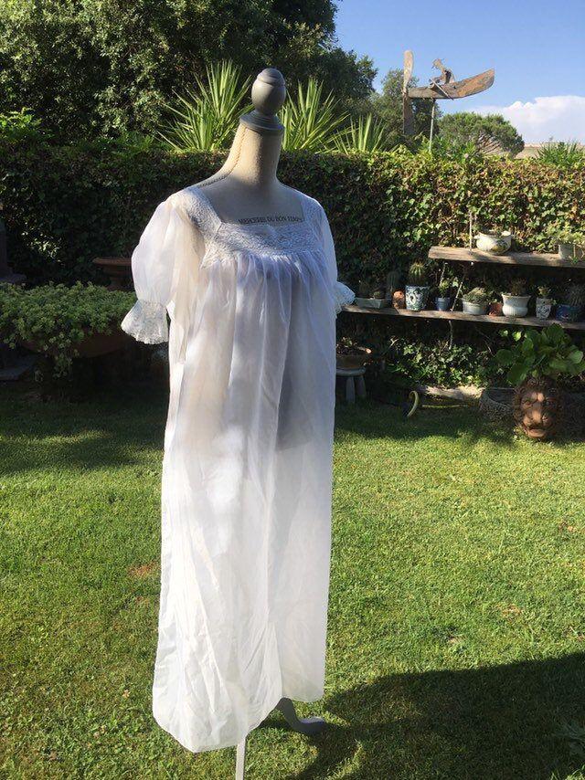 Negozio Shabby Chic Italia.Camicia Da Notte Shabby Chic Vintage 40s Bianco Sposa Wedding